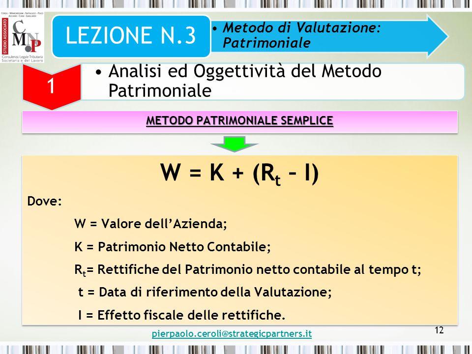 METODO PATRIMONIALE SEMPLICE