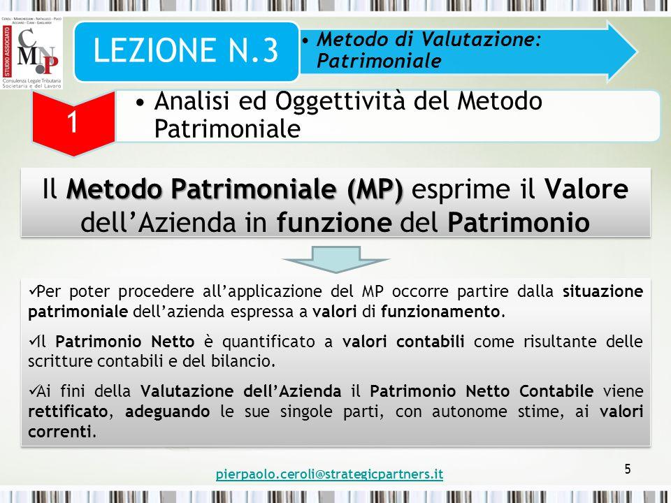 LEZIONE N.3 Metodo di Valutazione: Patrimoniale. 1. Analisi ed Oggettività del Metodo Patrimoniale.