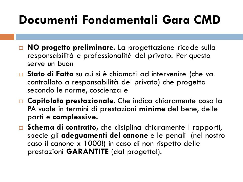 Documenti Fondamentali Gara CMD