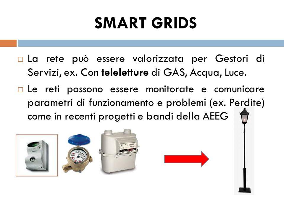 SMART GRIDS La rete può essere valorizzata per Gestori di Servizi, ex. Con teleletture di GAS, Acqua, Luce.