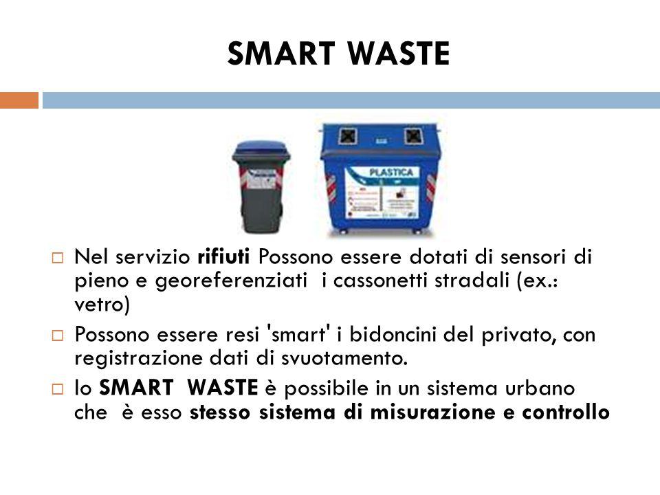 SMART WASTE Nel servizio rifiuti Possono essere dotati di sensori di pieno e georeferenziati i cassonetti stradali (ex.: vetro)