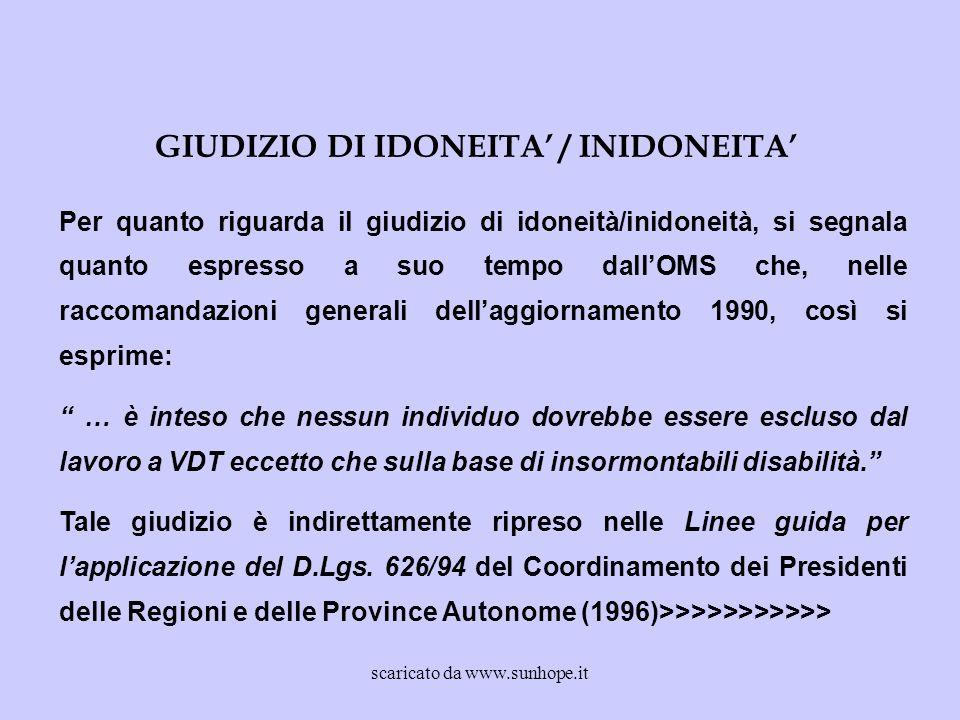 GIUDIZIO DI IDONEITA' / INIDONEITA'