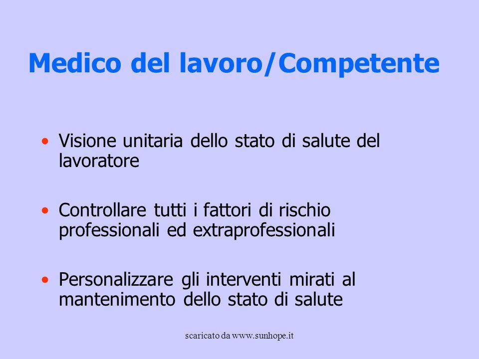 Medico del lavoro/Competente