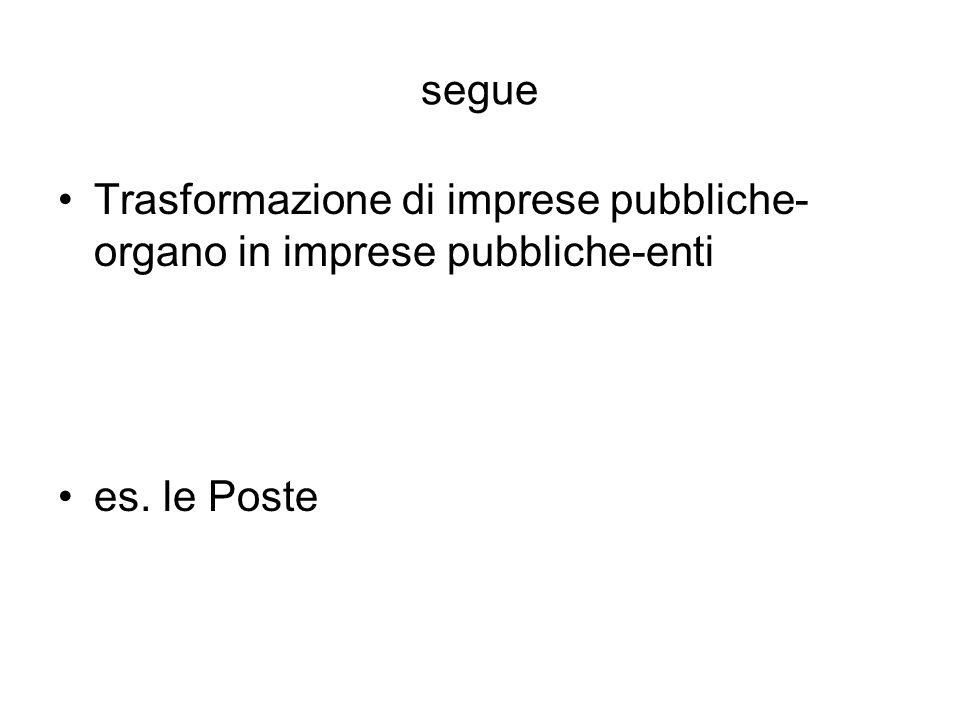 segue Trasformazione di imprese pubbliche-organo in imprese pubbliche-enti es. le Poste