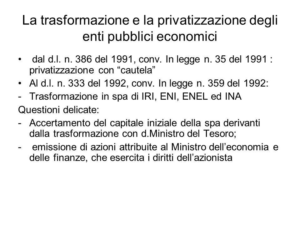 La trasformazione e la privatizzazione degli enti pubblici economici