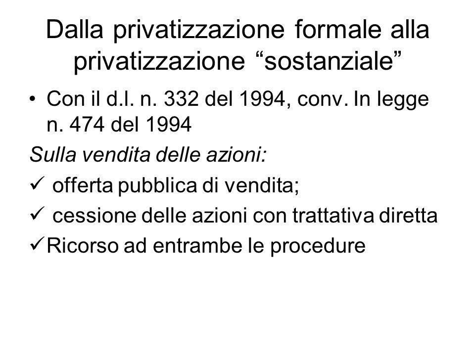 Dalla privatizzazione formale alla privatizzazione sostanziale