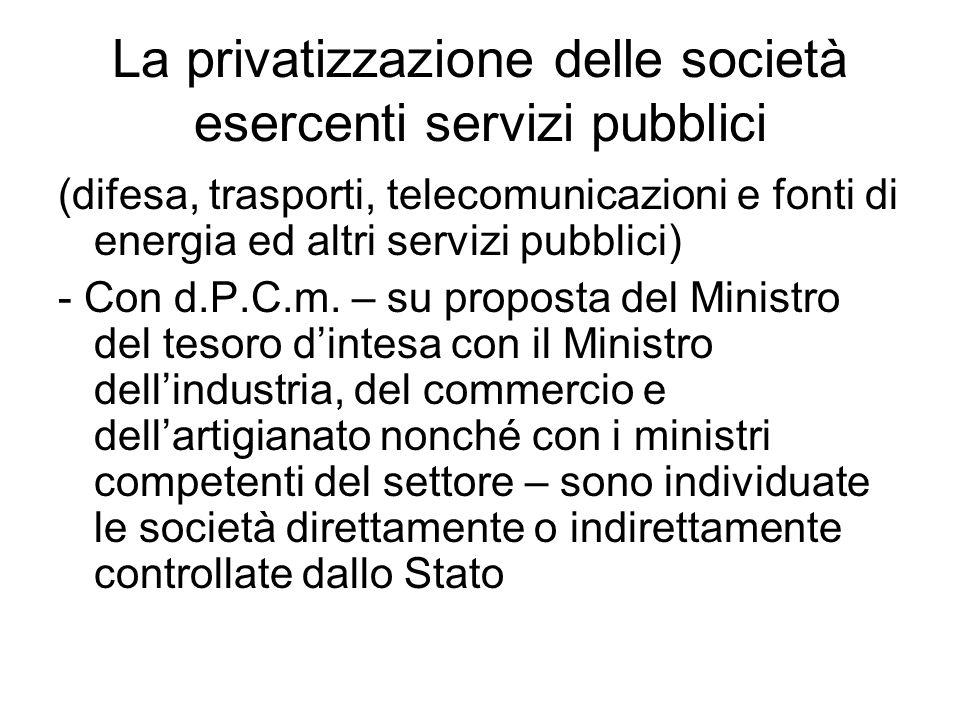 La privatizzazione delle società esercenti servizi pubblici