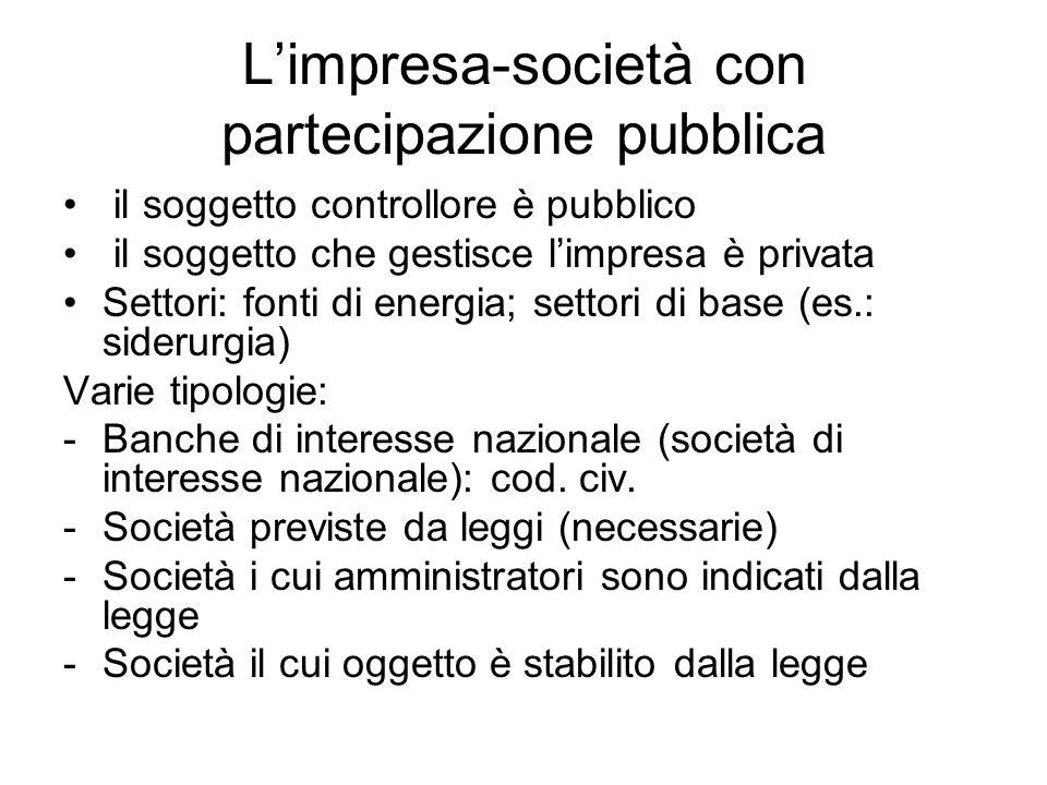 L'impresa-società con partecipazione pubblica