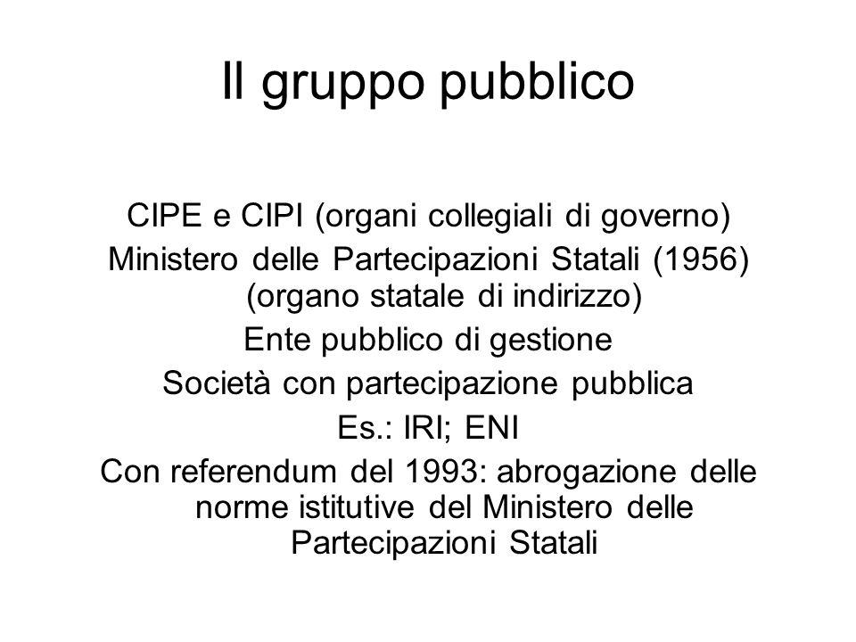Il gruppo pubblico CIPE e CIPI (organi collegiali di governo)