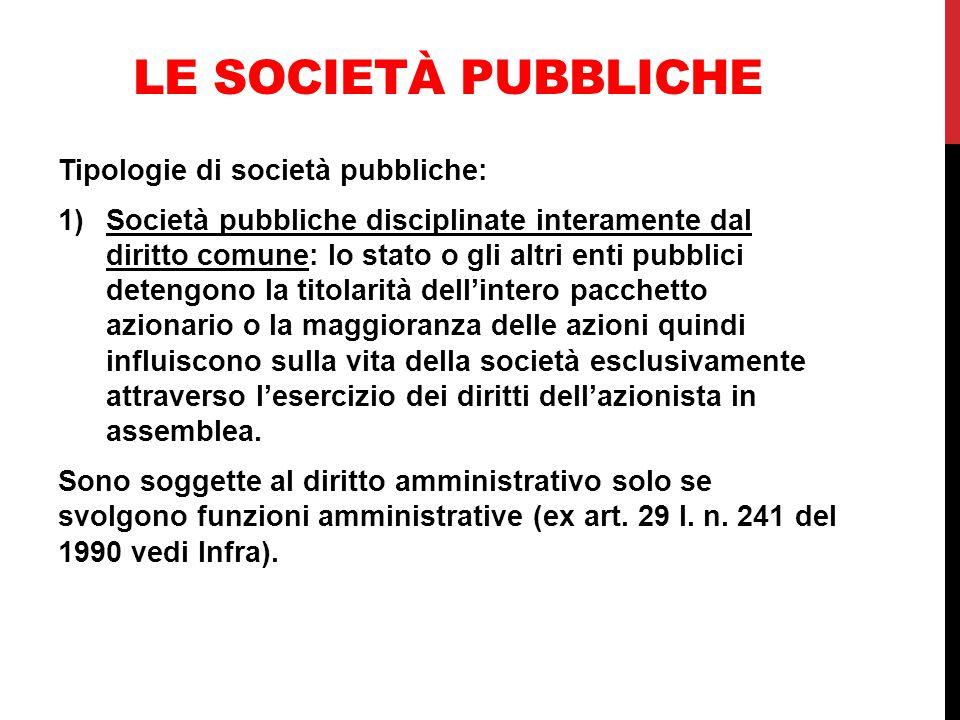 Le società pubbliche Tipologie di società pubbliche: