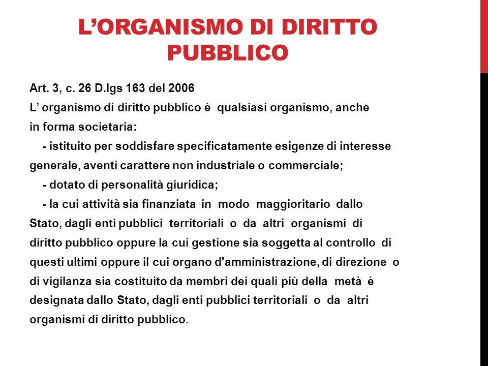 L'organismo di diritto pubblico