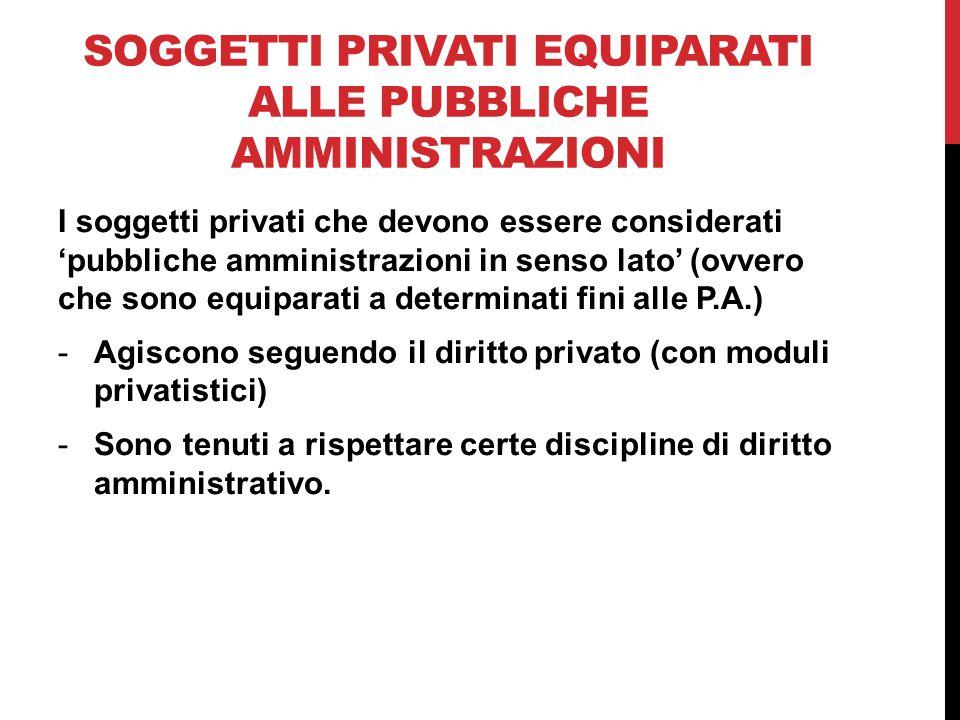 Soggetti privati equiparati alle pubbliche amministrazioni