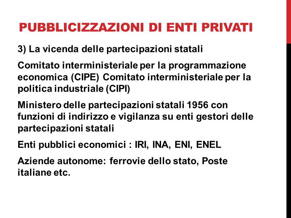 Pubblicizzazioni di enti privati