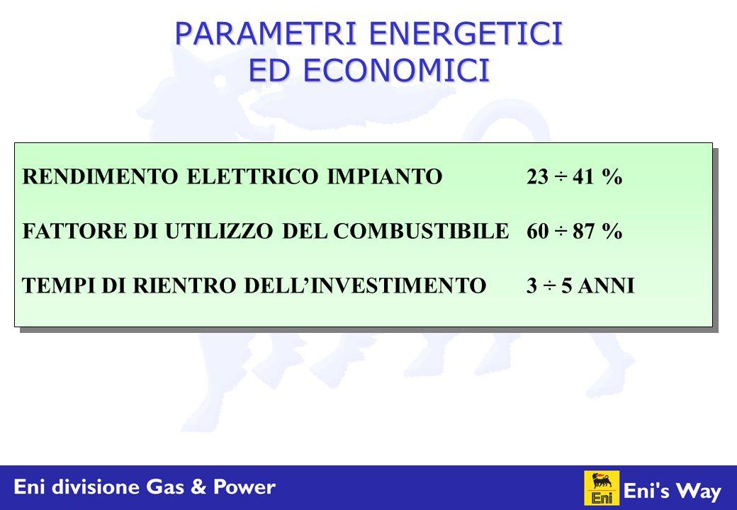 PARAMETRI ENERGETICI ED ECONOMICI