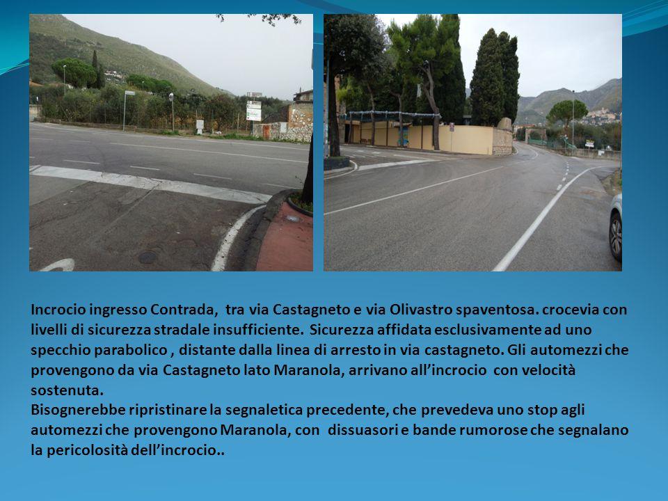 Incrocio ingresso Contrada, tra via Castagneto e via Olivastro spaventosa. crocevia con livelli di sicurezza stradale insufficiente. Sicurezza affidata esclusivamente ad uno specchio parabolico , distante dalla linea di arresto in via castagneto. Gli automezzi che provengono da via Castagneto lato Maranola, arrivano all'incrocio con velocità sostenuta.
