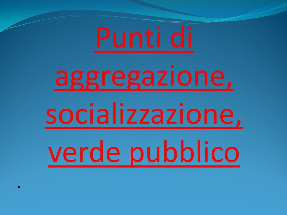 Punti di aggregazione, socializzazione, verde pubblico