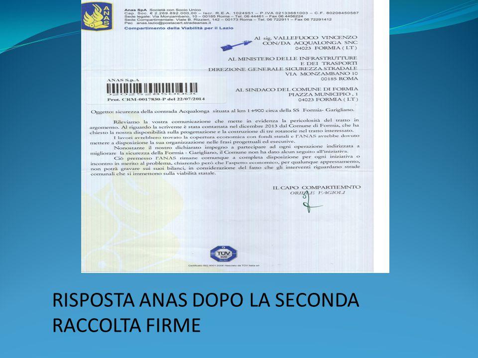 RISPOSTA ANAS DOPO LA SECONDA RACCOLTA FIRME