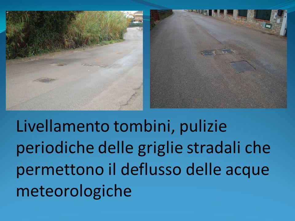Livellamento tombini, pulizie periodiche delle griglie stradali che permettono il deflusso delle acque meteorologiche