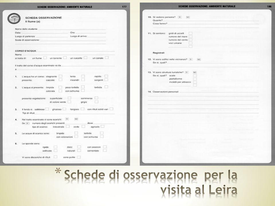 Schede di osservazione per la visita al Leira