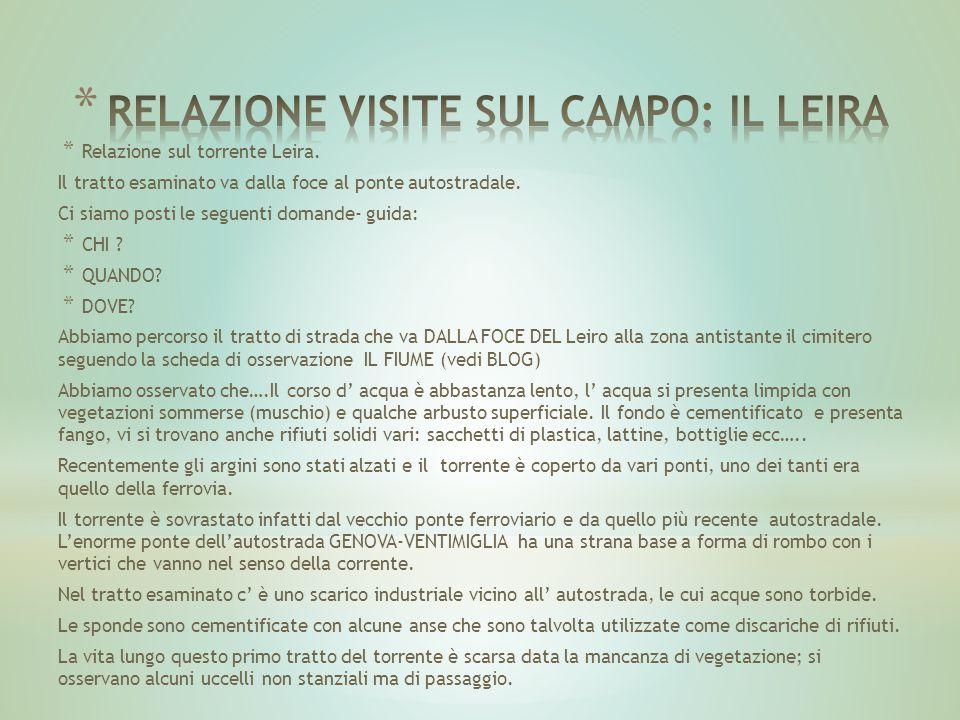 RELAZIONE VISITE SUL CAMPO: IL LEIRA