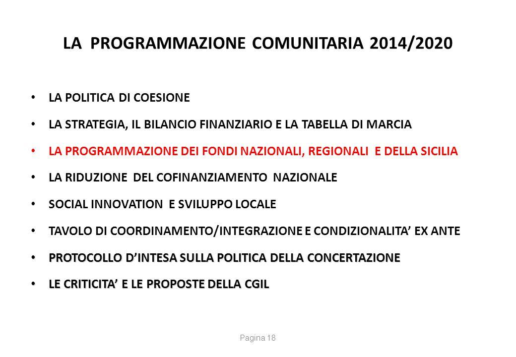 La Programmazione Comunitaria 2014/2020 La dotazione delle risorse