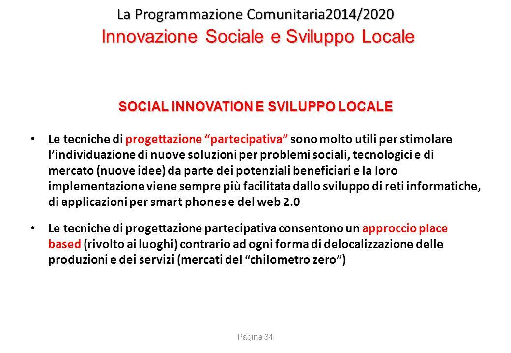 SOCIAL INNOVATION E SVILUPPO LOCALE