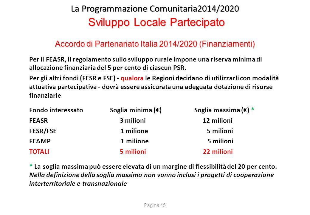 La Programmazione Comunitaria2014/2020 Sviluppo Locale