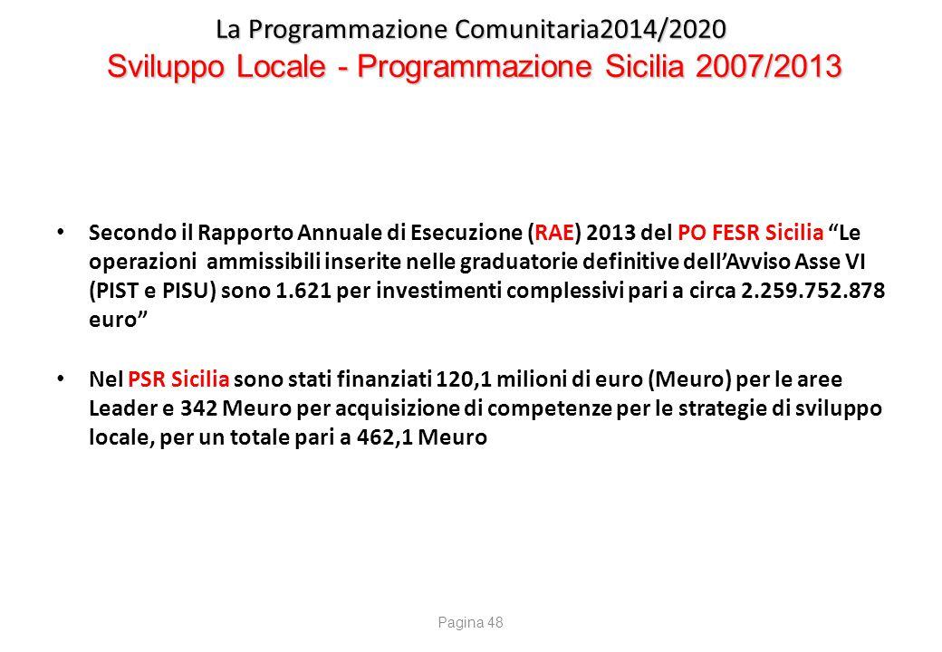 La Programmazione Comunitaria2014/2020 Sviluppo Locale nei PO FESR - FSE - PSR