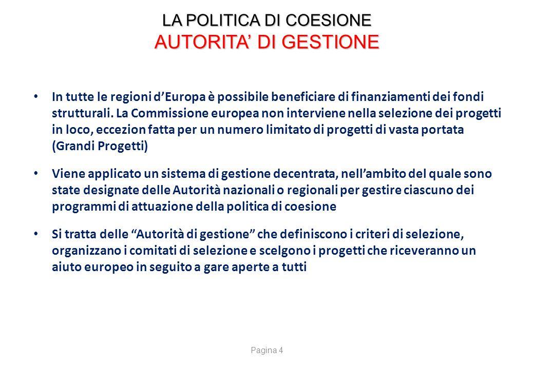 LA POLITICA DI COESIONE BENEFICIARI E SETTORI D'AZIONE