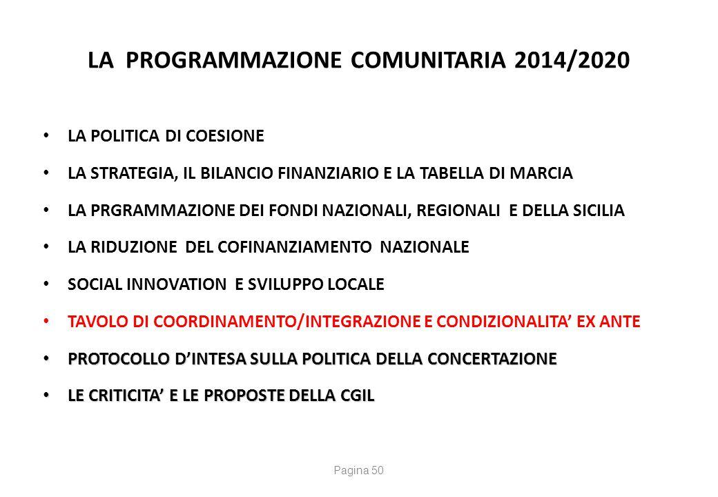 La Programmazione Comunitaria2014/2020 TAVOLO PERMANENTE PER IL COORDINAMENTO E L'INTEGRAZIONE