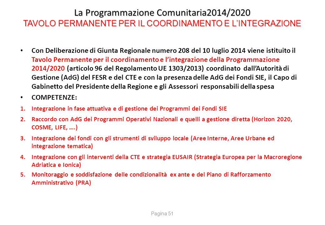 La Programmazione Comunitaria2014/2020 TAVOLO DELLE CONDIZIONALITA' EX ANTE PO FESR