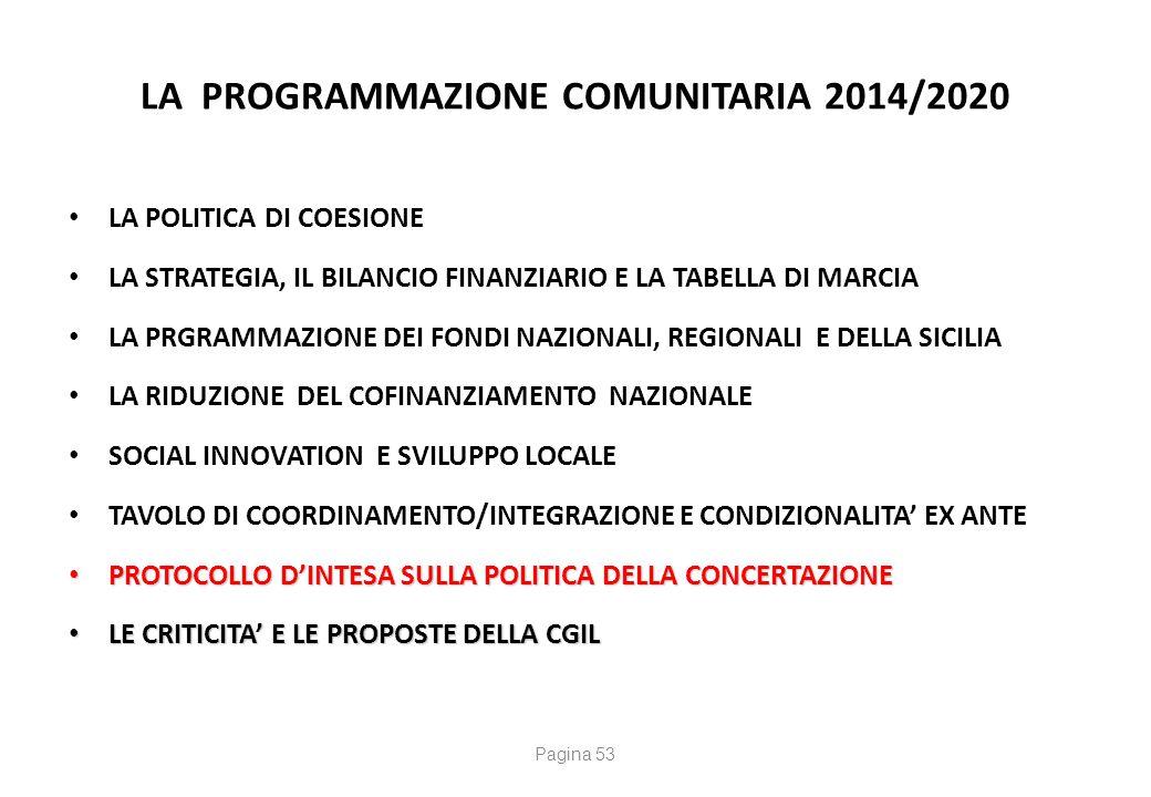 La Programmazione Comunitaria2014/2020 PROTOCOLLO D' INTESA SULLA POLITICA DELLA CONCERTAZIONE