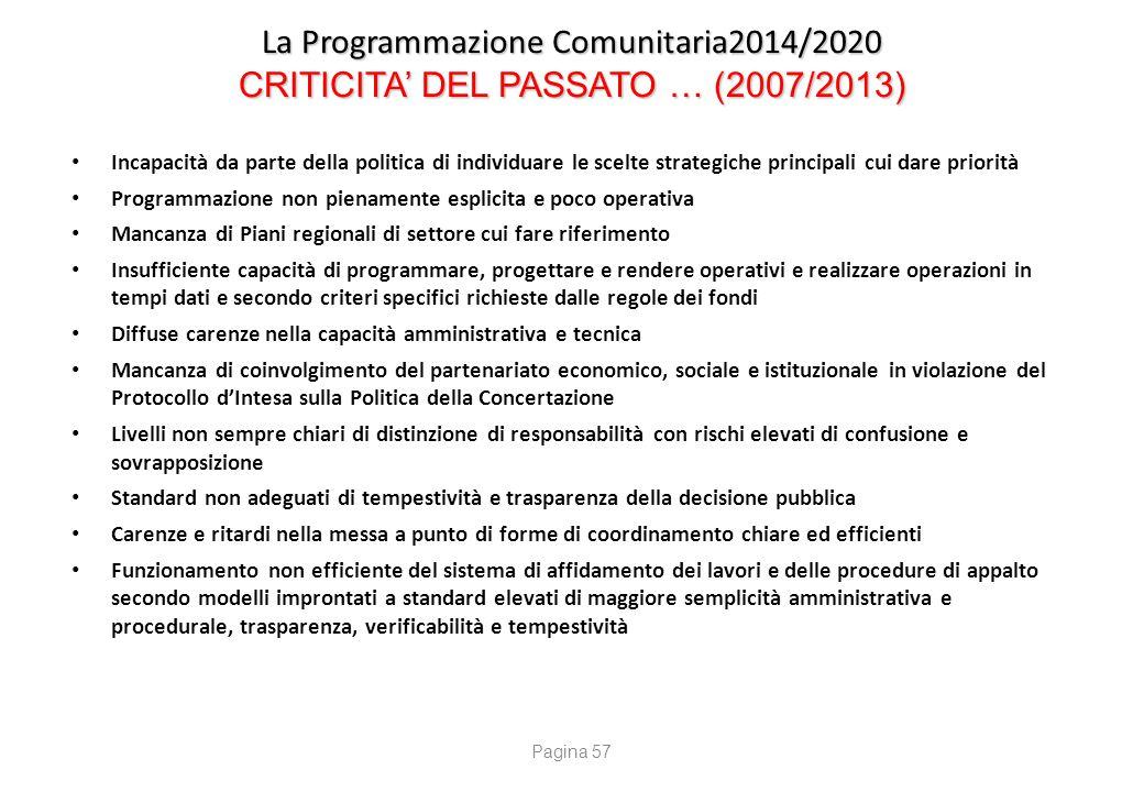La Programmazione Comunitaria2014/2020 E CRITICITA' DEL PRESENTE … (2014/2020)