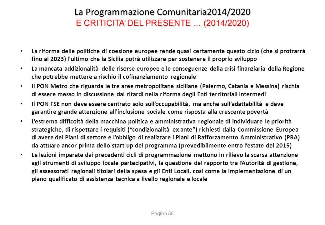 La Programmazione Comunitaria2014/2020 PROPOSTE PER … IL FUTURO (2014/2020)