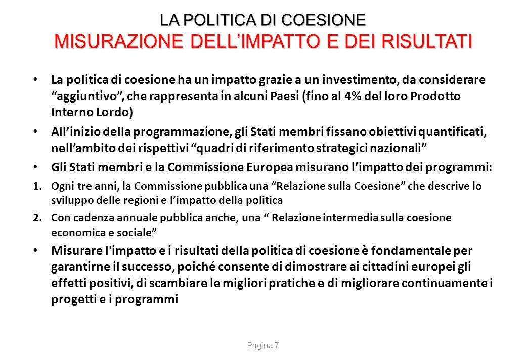 LA POLITICA DI COESIONE ACCORDO DI PARTENARIATO