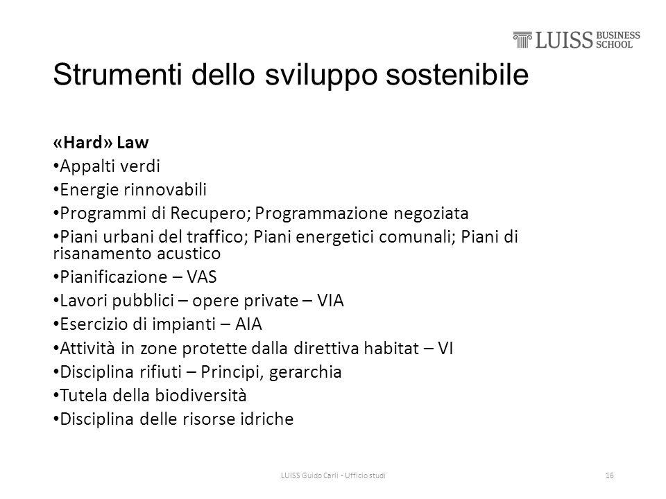 Strumenti dello sviluppo sostenibile