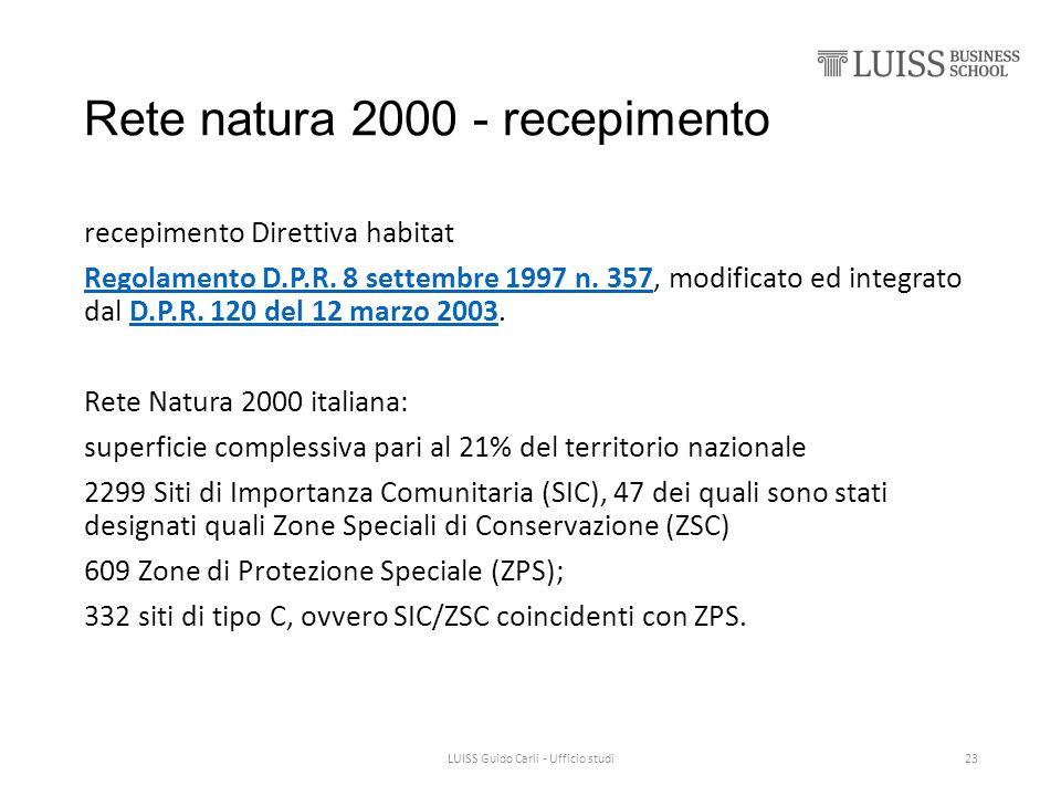 Rete natura 2000 - recepimento