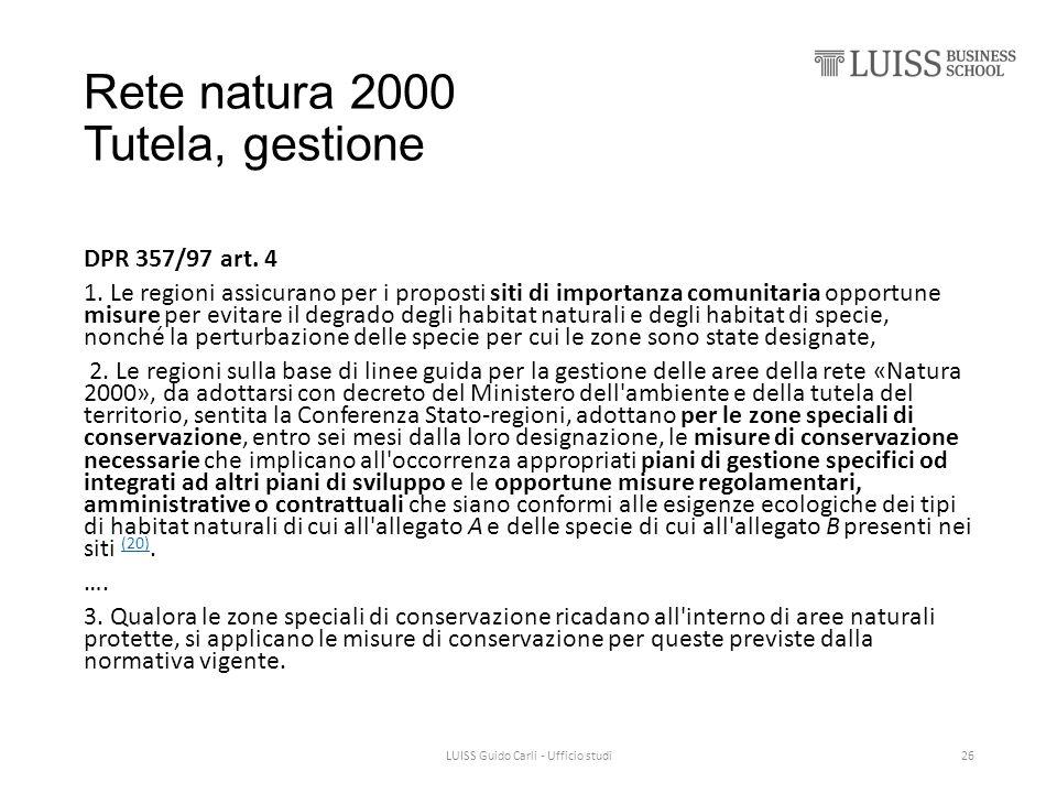 Rete natura 2000 Tutela, gestione