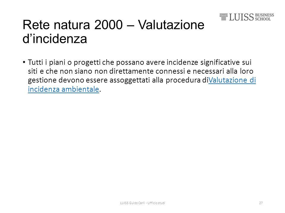 Rete natura 2000 – Valutazione d'incidenza