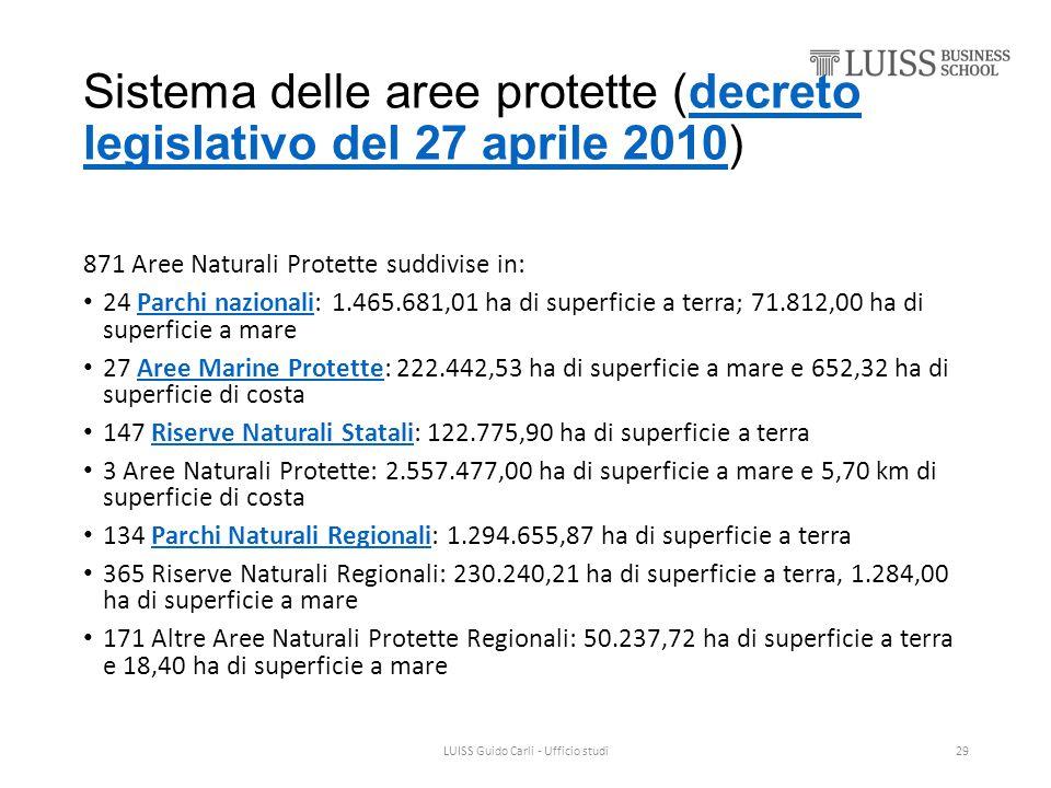Sistema delle aree protette (decreto legislativo del 27 aprile 2010)