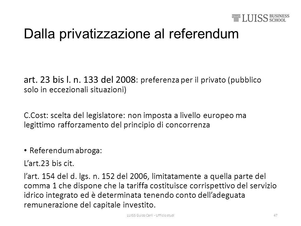 Dalla privatizzazione al referendum