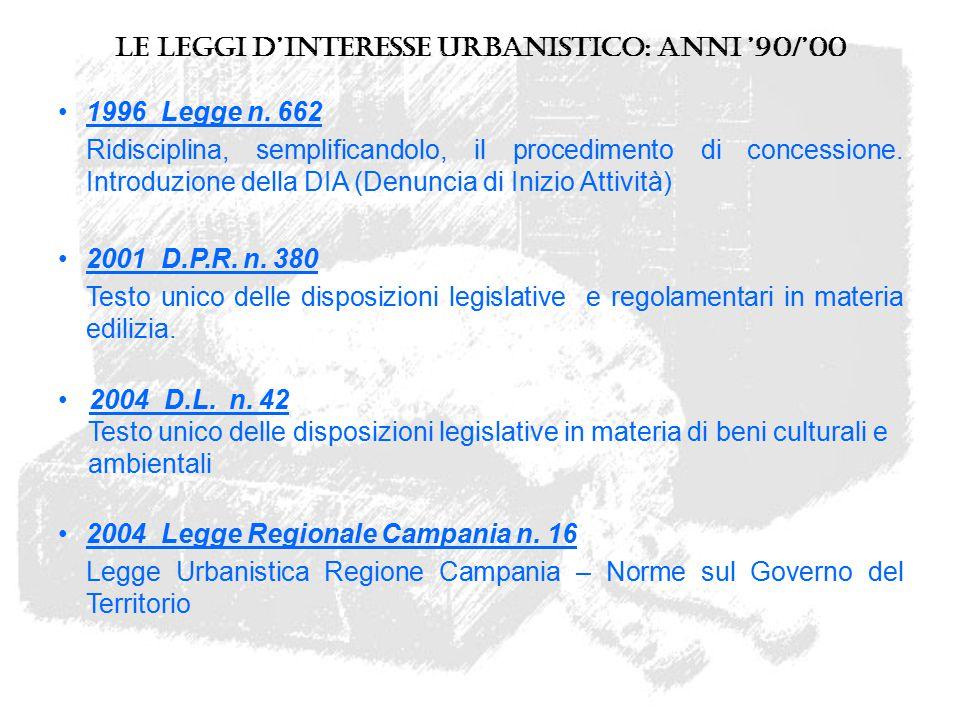 Le leggi d'interesse urbanistico: anni '90/'00