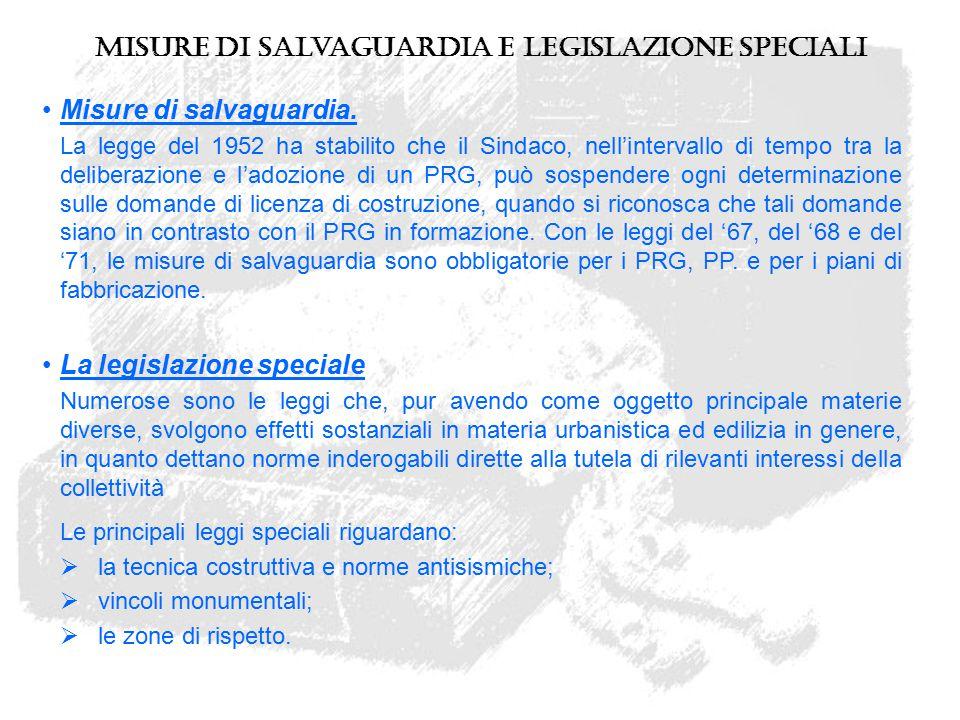 Misure di Salvaguardia e legislazione speciali