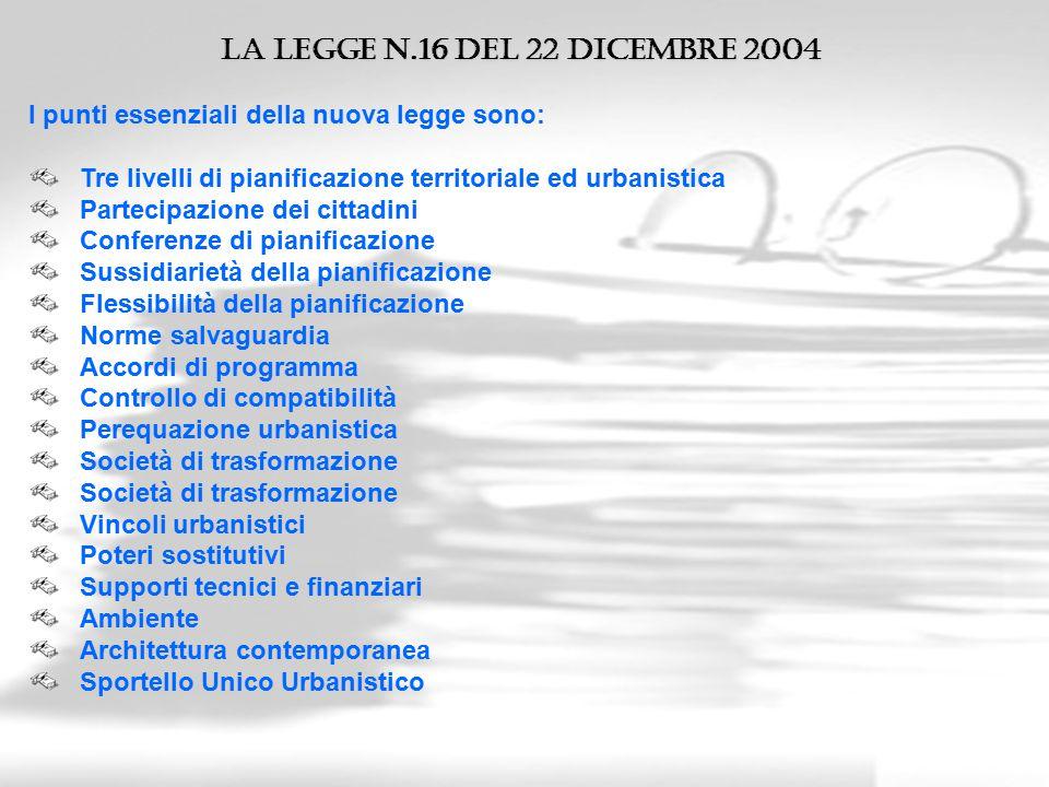 La legge n.16 del 22 Dicembre 2004 I punti essenziali della nuova legge sono: Tre livelli di pianificazione territoriale ed urbanistica.