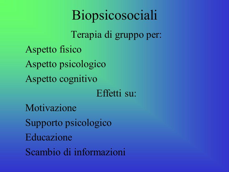 Biopsicosociali Terapia di gruppo per: Aspetto fisico