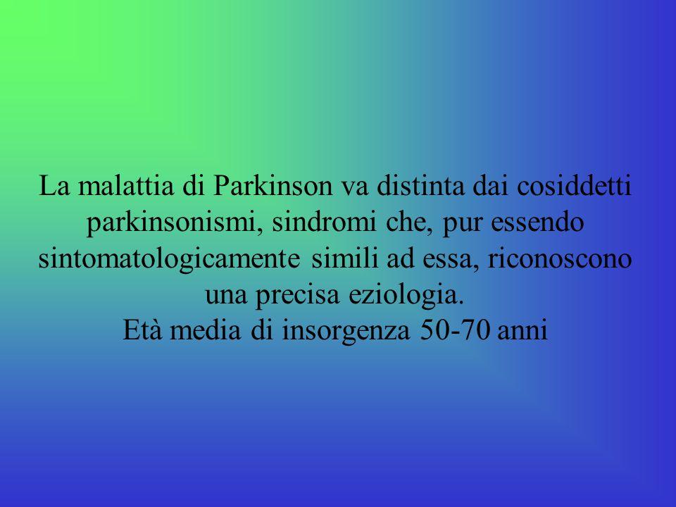 La malattia di Parkinson va distinta dai cosiddetti parkinsonismi, sindromi che, pur essendo sintomatologicamente simili ad essa, riconoscono una precisa eziologia.