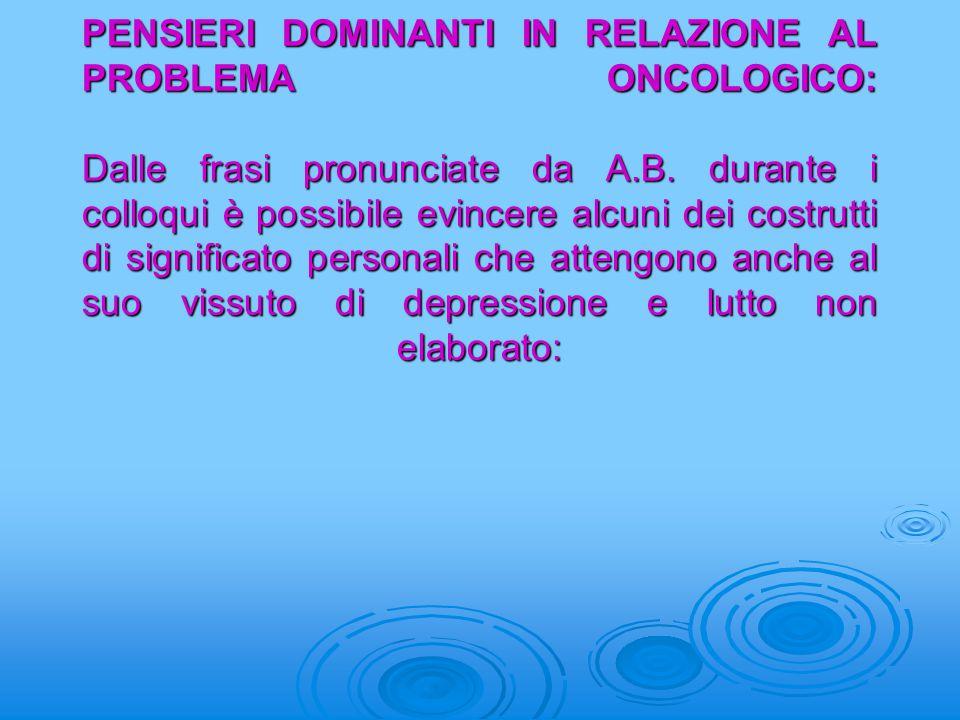 PENSIERI DOMINANTI IN RELAZIONE AL PROBLEMA ONCOLOGICO: Dalle frasi pronunciate da A.B.