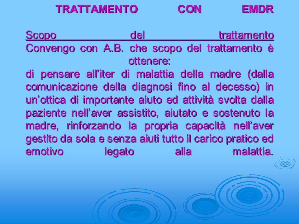 TRATTAMENTO CON EMDR Scopo del trattamento Convengo con A. B