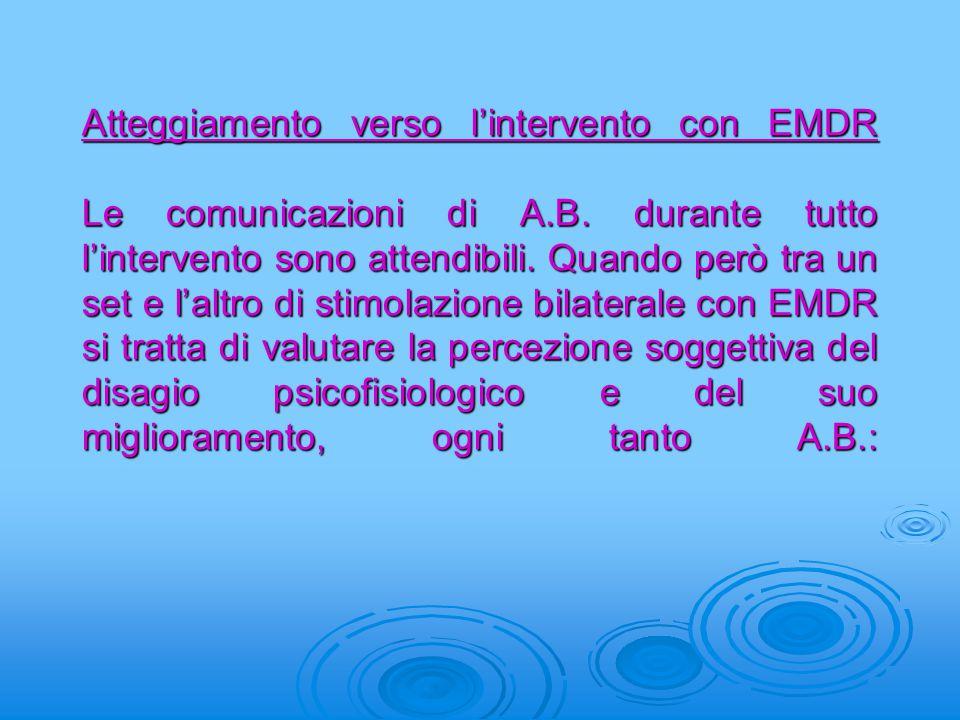 Atteggiamento verso l'intervento con EMDR Le comunicazioni di A. B