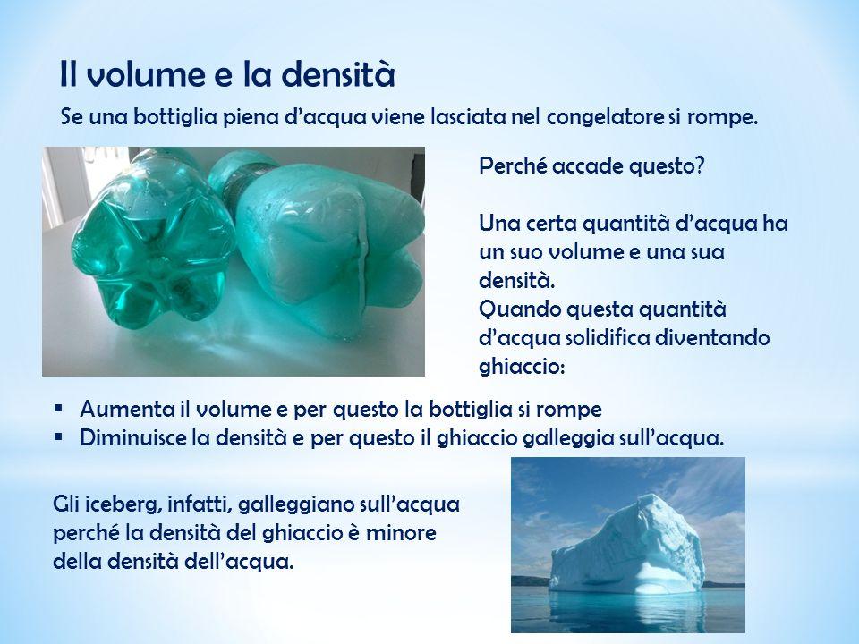 Il volume e la densità Se una bottiglia piena d'acqua viene lasciata nel congelatore si rompe. Perché accade questo